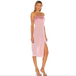 LPA Astrid Pink Feather Dress Size Medium